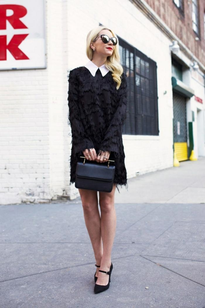 tenue femme officielle, robe noire, fourrure, sac noir, poignée métallique originale, lunettes de soleil