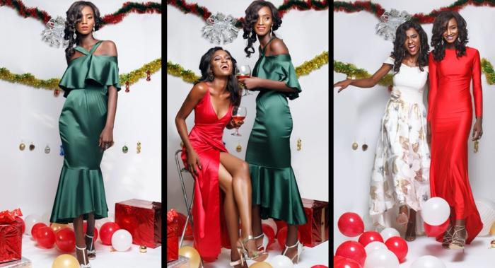 Robe nouvel an, tenue de fete noel, tenue habillée femme rouge blanc vert, belles femmes, choix entre rouge et gris et blanc pour tenue de noel