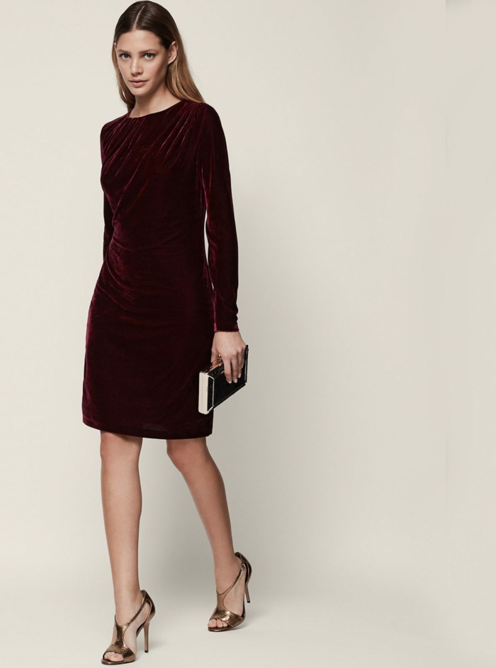 Robe reveillon, tenue de fête femme la fête de noël, tenue simple et très chic, robe courte à manche longue en velours