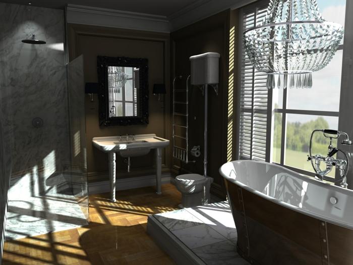 salle de bain gris et bois, plafonnier pampilles, baignoire baroque, vasque vintage deux pieds, cabine de douche grise