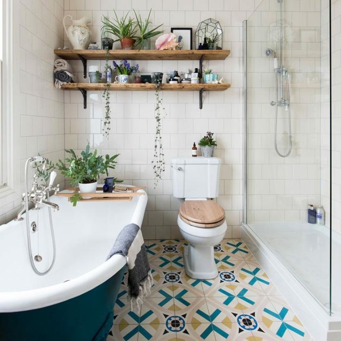 Salle De Bain Bleue Et Blanche : Comment décorer la salle de bain rétro idées déco en