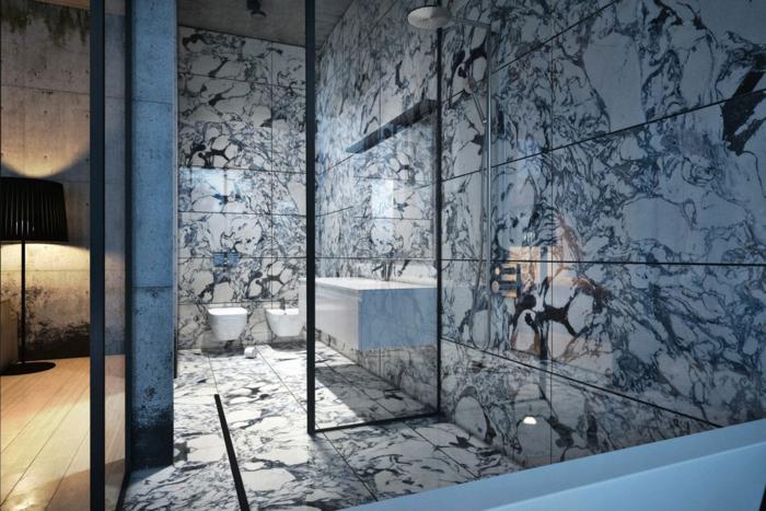 salle de bain en marbre veiné blanc, vasque blanche rectangulaire, parois au profilé noir