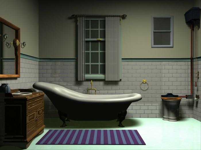 tapis bleu, baignoire en fonte, carreaux métro blancs, sol bleu, miroir encadré en bois, commode en bois, baignoire ancienne