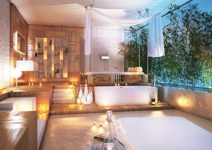 salle de bain beige, baignoire blanche, vases décoratifs, étagère murale intégrée, vasque suspendue blanche