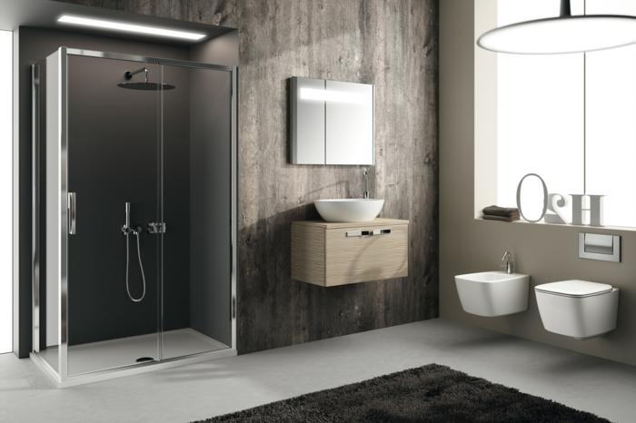 décor de salle de bain épuré en style trendy, déco blanc et grège, douche au ras du sol
