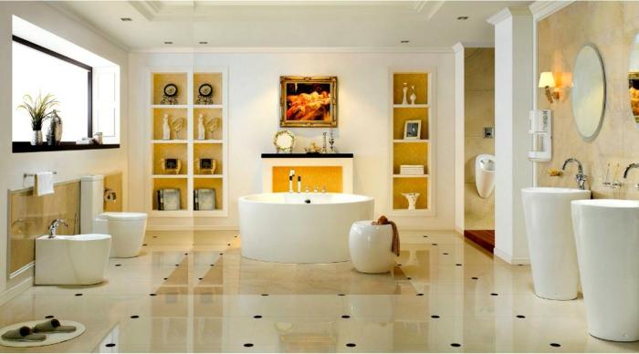 salle de bains impressionnante en jaune et blanc, deux vasques colonnes, étagères intégrées et cheminée décorative jaune, carreaux beiges et lisses