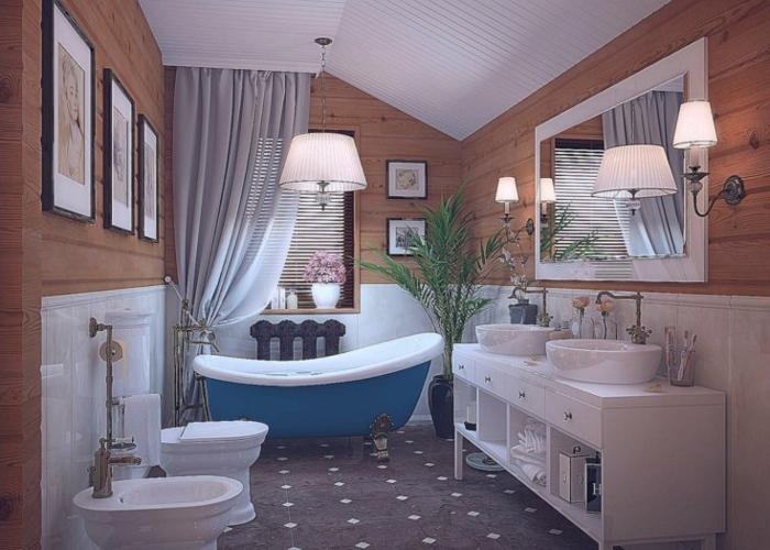 carreaux noirs, meuble blanc avec deux lavabos, mur en planches de bois, baignoire blanche et bleue, salle de bain mansardée, grand miroir rectangulaire