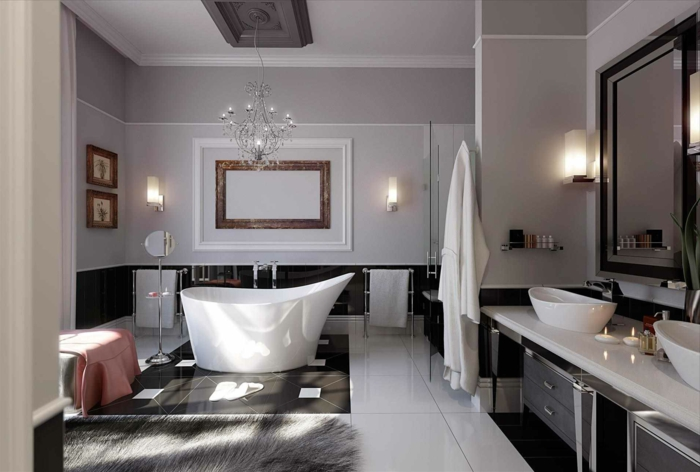 salle de bain en noir et blanc, deux lavabos blancs, miroir rectangulaire, luminaire subtil, tapis poilu, peinture murale grise