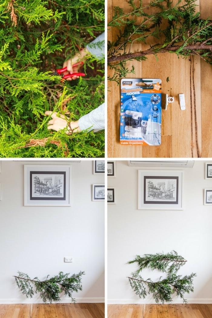 sapin de noel naturel et minimaliste en branches vertes de tailles différentes fixées au mur