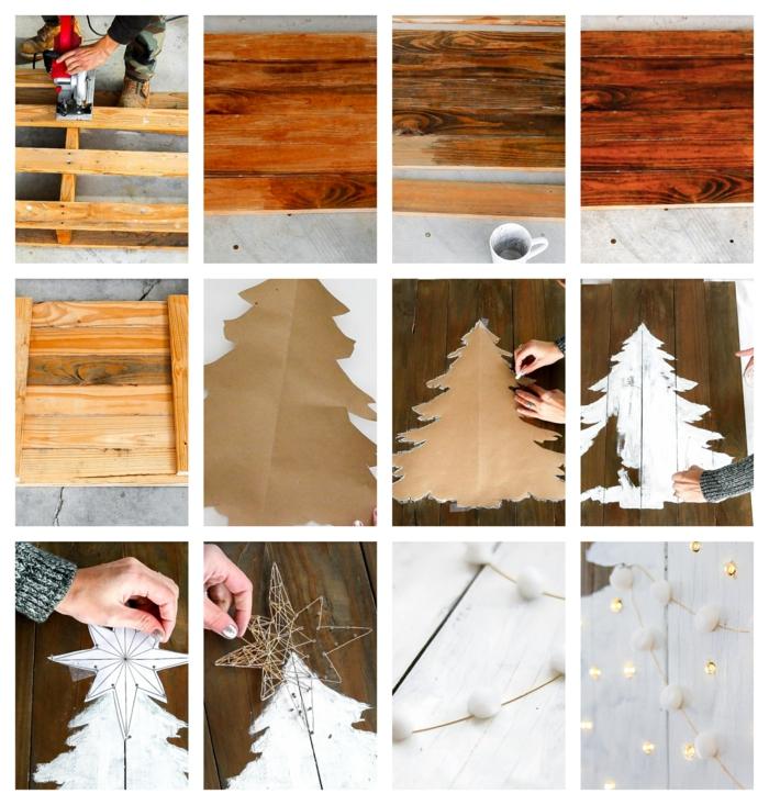 comment faire un sapin de noel en palette, pin en carton, peinture blanche, image de sapin, palette, étoile en fil, guirlande pompons