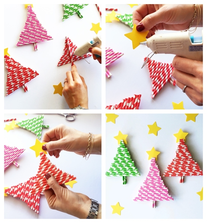 sapin de noel en pailles de couleurs variées rangées en forme de sapin de noel avec une étoile de papier jaune en top, activité primaire simple et rapide
