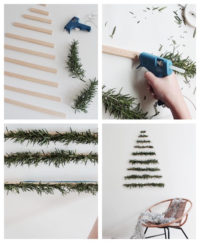 fabrication sapin de noel original en lattes de bois avec des branches de pin fixées sur un mur, decoration murale noel scandinave