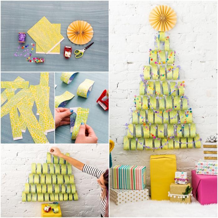 réaliser un sapin de noel en papier avec des bandes de papier cadeaux vert collés au mur en briques blanches à la base duquel sont les paquets cadeaux sont rangés, alternative originale au sapin traditionnel
