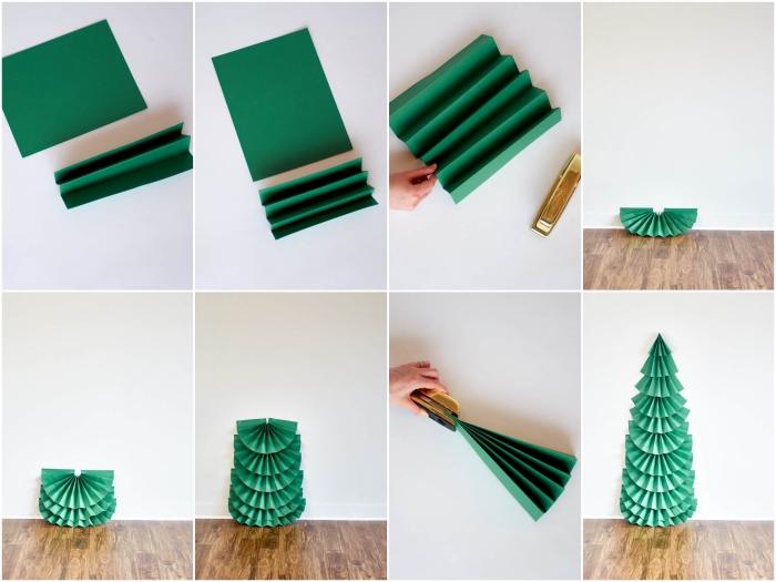 le pas à pas facile pour fabriquer un sapin de noel en papier de grande taille à partir de feuilles en papier pliées en éventail empilées une sur autre