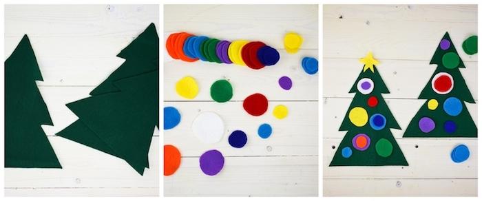 sapin de noel en feutrine décoré de boules de noel colorés collées dessus le sapin, idee d activité thematique pour enfant à l occasion de noel