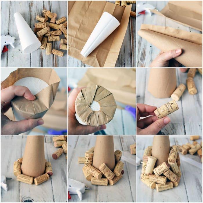 fabrication de sapin de noel en cône recouvert de bouchons de liège, fabriquer deco noel originale soi meme