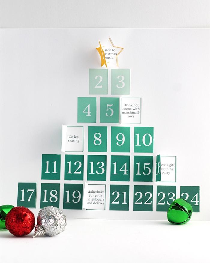 calendrier de l avent à imprimer en sapin de noel à petites fenêtres à ouvrir avec des activités en famille pour noel