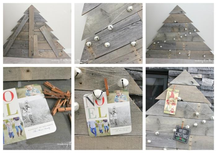 attacher une guirlande de grelets au sapin de noel artificiel, boules blanches, cartes et photos attachées, pinces à linge, bricolage créatif