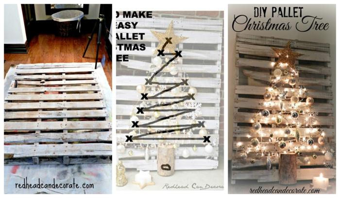 arbre de noel décoré à partir de palette peinte blanche, guirlande d'ampoules, guirlande d'étoiles en papier d'aluminium, étoile lumineuse
