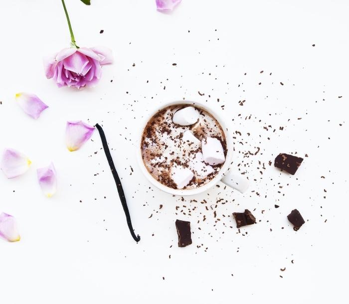 idée chocolat chaud maison pour 1 personne, recette boisson chaude au lait et cacao en poudre servie avec guimauves