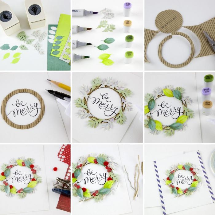exemple de carte de voeux noel DIY, tutoriel avec les étapes pour faire une carte de noel en papier blanc avec couronne de noel en feuilles de papier coloré