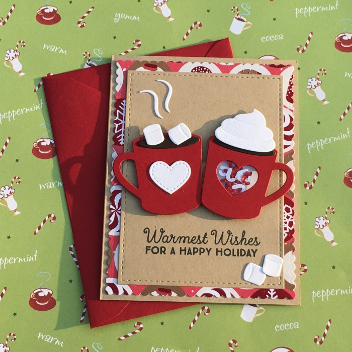 modèle carte diy avec tasse café 3D, carte de voeux a faire soi meme, papier kraft brun, comment décorer une carte vierge noel,