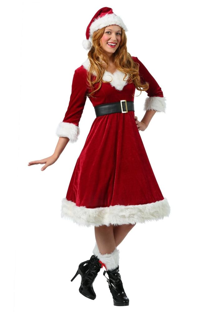 Tenue de noel femme robe pour les fetes de fin d année idée deguisement mere noel, tenue de fête femme, robe reveillon