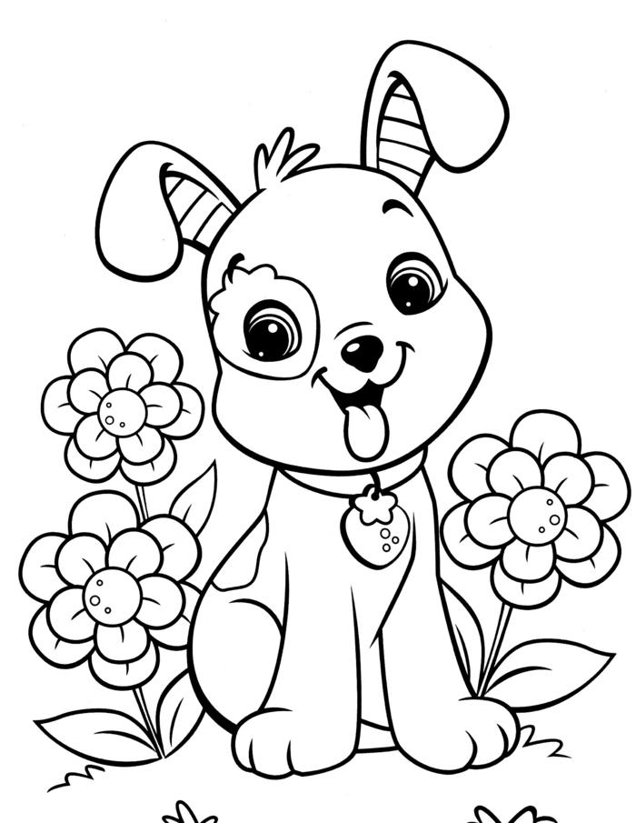 Comment dessiner des animaux, dessins de chien et fleurs facile à faire, coloriage enfant, commencer à dessiner et puis colorer le dessin