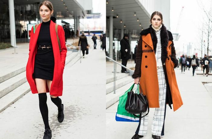 manteaux longs, chaussettes longues, manteau en noir et orange, costume carreaux femme, deux sacs cabas en cuir