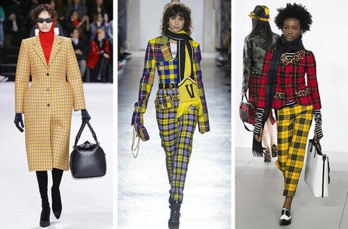 manteau beige à carreaux classiques, pull femme rouge, vetement femme chic motifs carreaux