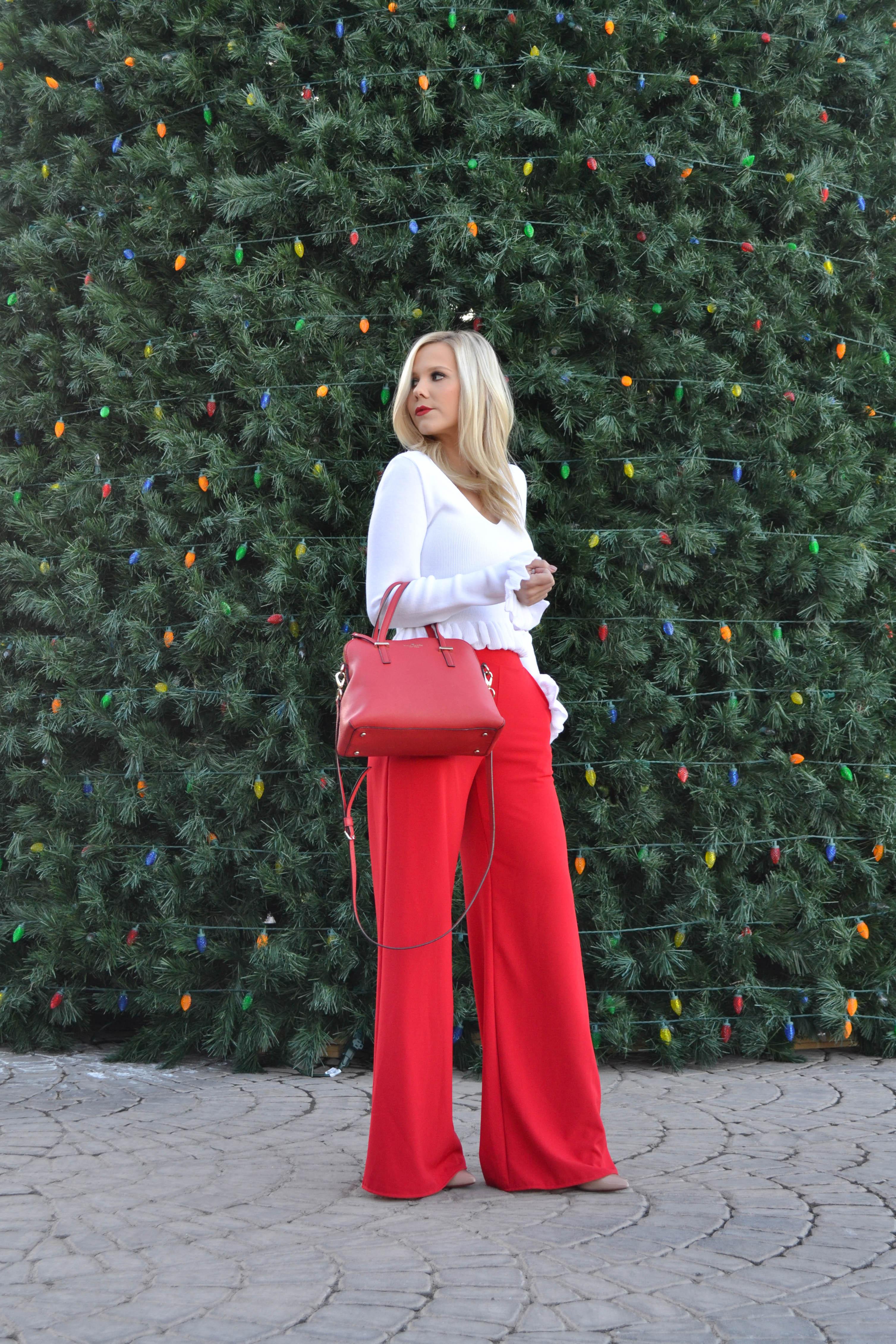Pull noel famille pull de noel femme, tenue décontractée chic femme, pantalon rouge evasee