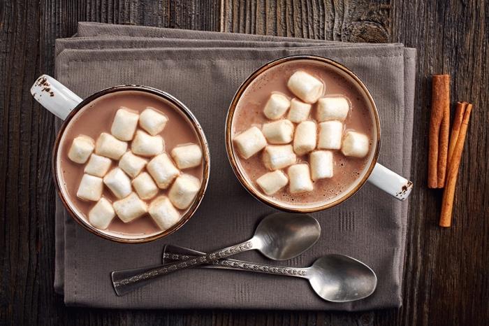 veritable chocolat chaud aux guimauves, préparation boisson au lait et cacao en poudre facile, idée boisson chaude pour noel