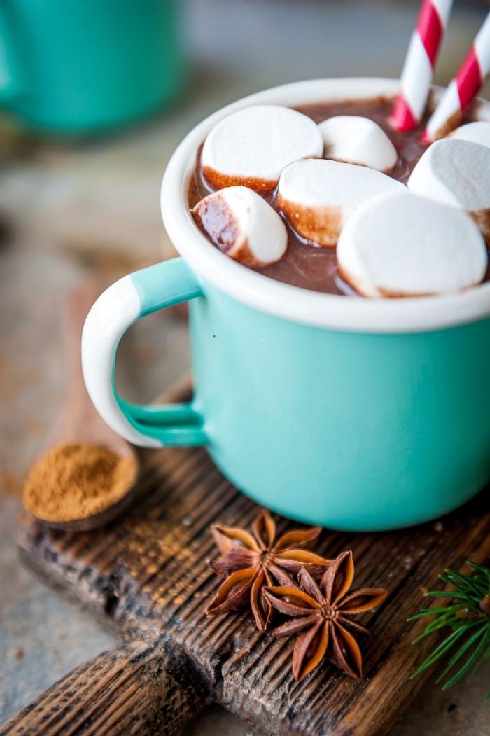 boisson noel délicieuse au chocolat fondu et guimauves, comment garnir chocolat chaud maison avec guimauves