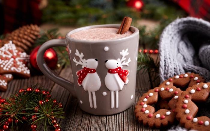 comment faire un chocolat chaud pour Noel, mug gris avec cerfs de Noel en relief, recette chocolat chaud a l ancienne parfumé à la cannelle