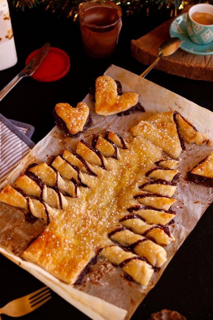 que faire avec une pate feuilletée pour l apéro, idée recette gourmandise pour noel au chocolat et pâte feuilletée