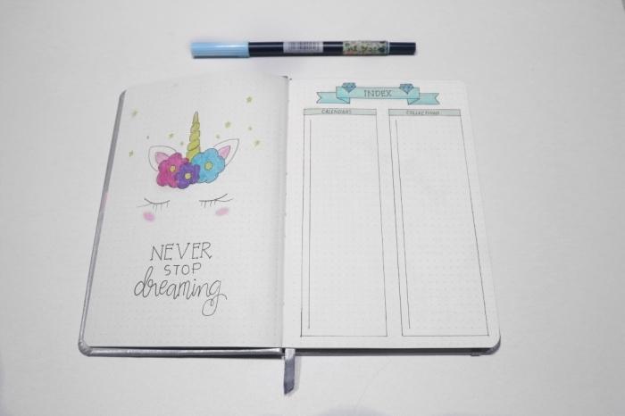 idée de dessin facile pour personnaliser son agenda, motif populaire dessin licorne aux yeux fermés avec couronne de fleurs