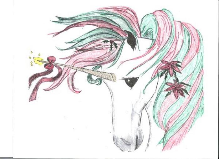 dessin de licorne tête baisée avec une crinière rose-vert et une corne décorée de fleurs