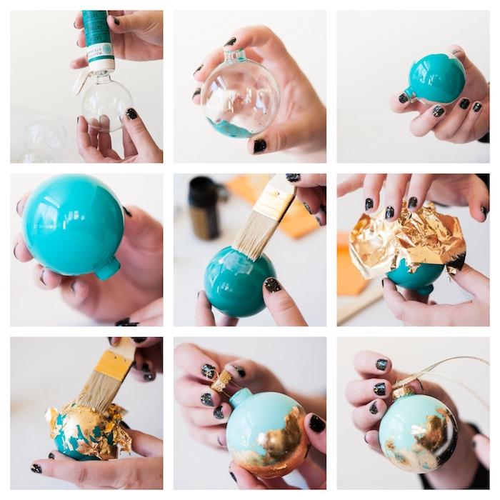 fabriquer boule de neige en boule transparente personnalisée de peinture bleue à l intérieur et une feuille d or