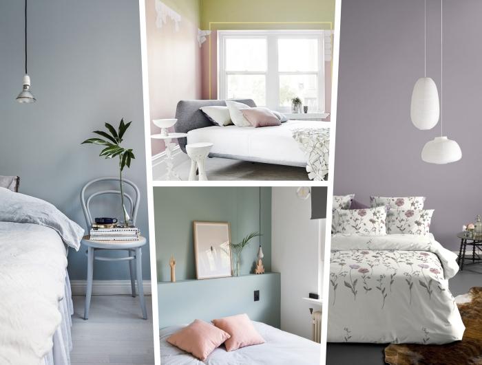 deco chambre parentale en couleurs pastel, aménagement chambre à coucher aux murs vert pastel et blanc avec accessoires en rose pastel