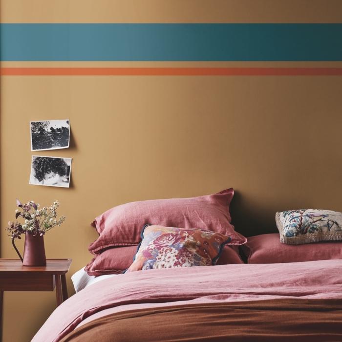 idée quelle couleur pour une chambre moderne, peinture murale en nuance beige, murs en peinture nuance terreuse
