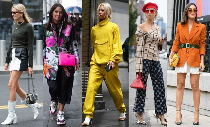 mode féminine automne, bottines blanches, chaussures de sport, costume jaune, veste tweed femme, jupe courte femme