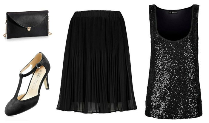 tenue de noel ou de nouvel an, escarpins élégantes ouvertes, jupe plissée, débardeur noir à paillettes, sac à rabat