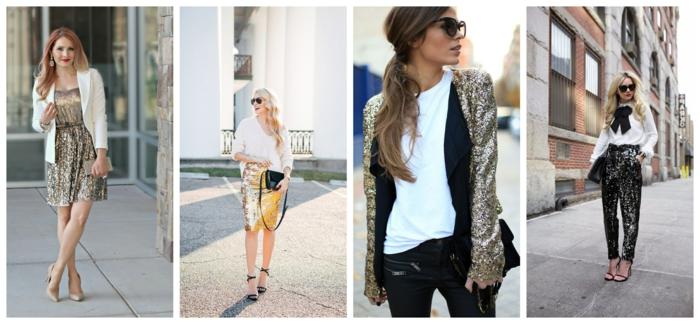 robe pailletée couleur métallique, veste blanche, jupe courte dorée, top blanc, sac noir, veston pailleté