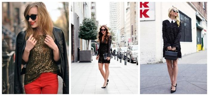 tenue casual chic femme, pantalon rouge, top pailleté, veste en cuir noire, robes noires