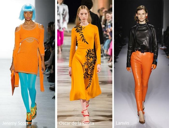 collant bleu, pantalon simili cuir femme orange, veste cuir noir, robe jaune élégante, collant bleu, cheveux bleus