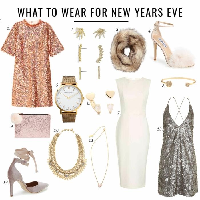 pièces de mode pour la tenue nouvel an, robe trapèze paillettes, montre élégante femme dorée, col fourrure, bijoux chic, pochette rose, escarpins couleur nude