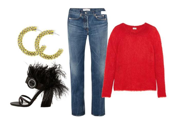 Tenue de noël pour femme, robe nouvel an ou noel belle tenue femme, jean et pull rouge