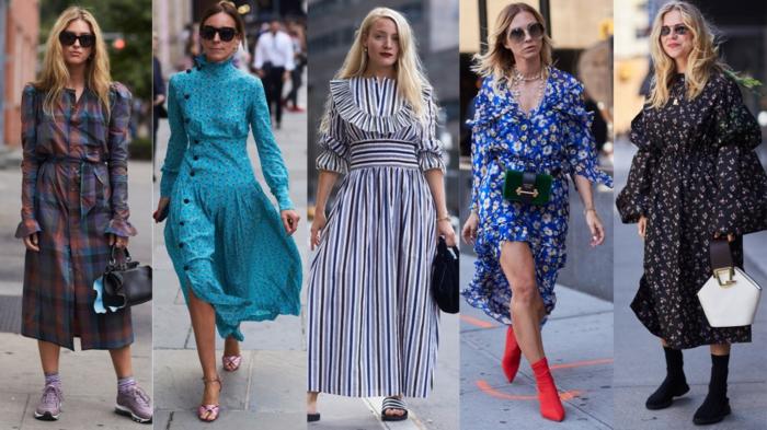 robes carreaux femme, rayures, robe bleue aux boutons, bottes rouges, robe florale surdimensionnée