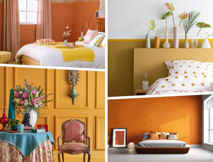 idée couleur chambre 2019, exemple de peinture bicolore en jaune moutarde et blanc, chambre aux murs gris et orange