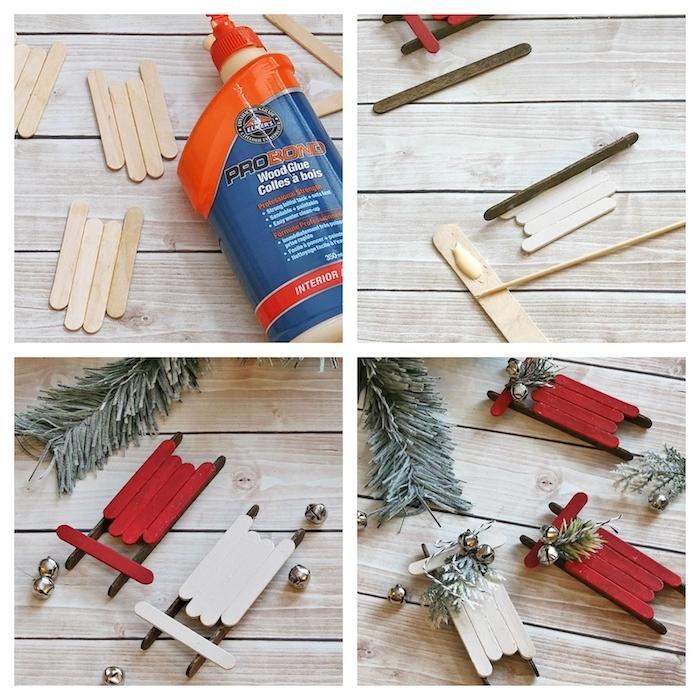 traineau en batonnets de glace assemblés avec decoration de pin et de clochettes, objets deco noel fait main